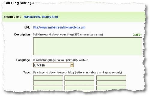 blog settings technorati