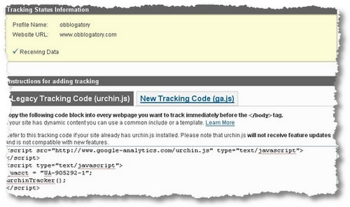 settings for tracking code