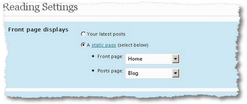 wordpress static page settings