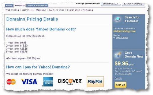 yahoo domains